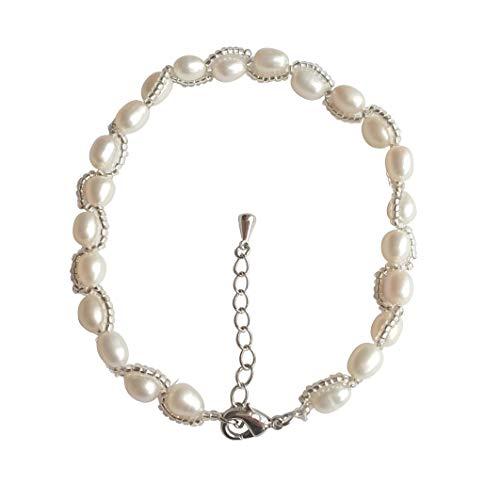 regalo per la festa della mamma,ELAINZ HEART cavigliera di perle per donna di qualità superiore, perla ovale bianca 7-8mm