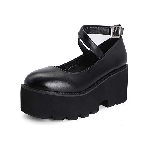 Odisen Women Platform Lolita Mary Jane Shoes Goth Cute Vintage T-Strap Buckle Round Toe Chunky Platform Kawaii Shoes (Black,8)