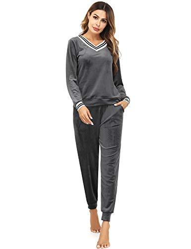 Irevial Damen Velours Hausanzug Nicki Schlafanzug Lang Winter Weicher Pyjama Anzug Set Zweiteiliger Flanell Trainingsanzug Oberteil und Hose mit Taschen Grau M
