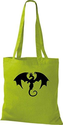 Stoffbeutel; Tiermotiv Drache, Dragon, Fabeltier; Farbe Lime
