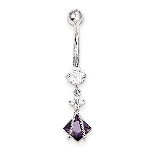 Jewelry Adviser Body Jewelry /& Piercing 10k W//5mm Square Cz Belly Dangle