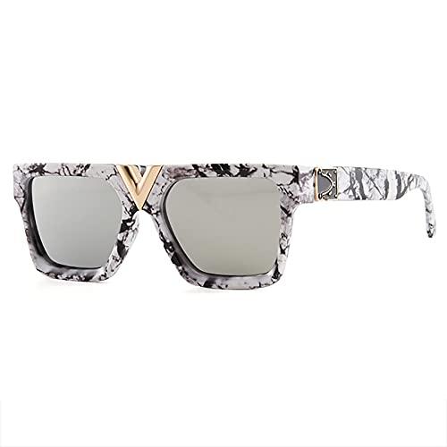 QFSLR Gafas De Sol Retro De Moda para Hombres Y Mujeres, 100% De Protección UV, Adecuadas para La Playa, Compras, Fiestas