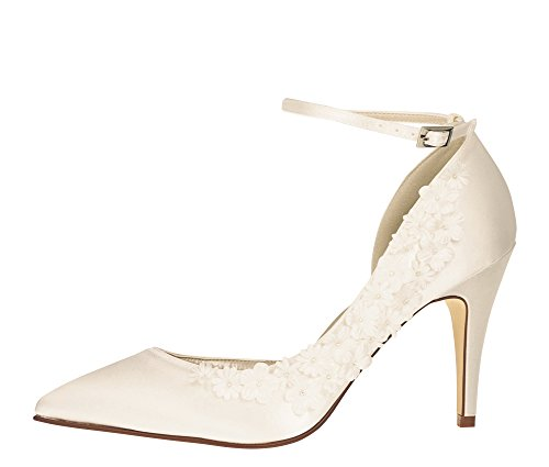 Rainbow Club Brautschuhe Fern - High Heels - Ivory Satin Blumen Applikationen - Gr 37 EU 4 UK
