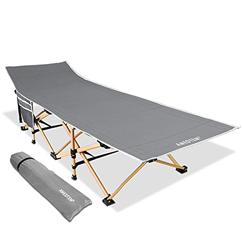 AMEDTEM Camping Cots, Sleeping Cots Backpacking Bed Oversized Folding Protable with Carry Bag,Travel Camp Cot for Heavy People Home Office Outdoor Hiking Beach Pool, Support 450LBS - Grey