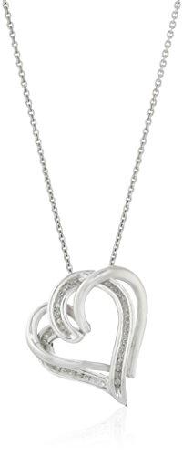 Sterling Silver Diamond Double Heart Pendant Necklace (1/10 cttw), 18\
