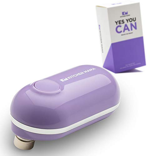 Kitchen Mama Mini Electric Can Opener: Open Cans with A Simple Push of Button - Smooth Edge, Food-Safe, Battery Operated and Mini Sized Can Opener (Purple)
