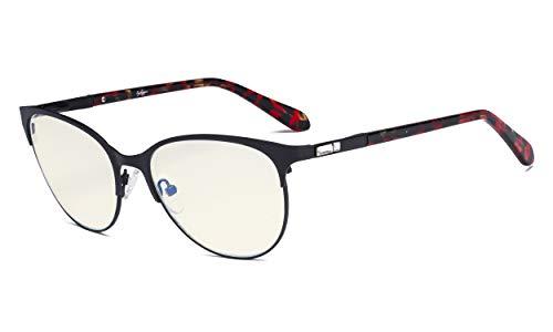Eyekepper bril met blauw licht voor dames – UV420 bescherming tegen kattenogen – bril tegen blauwe spaken voor vrouwen, 0.00, Noir-bb40 Lentille