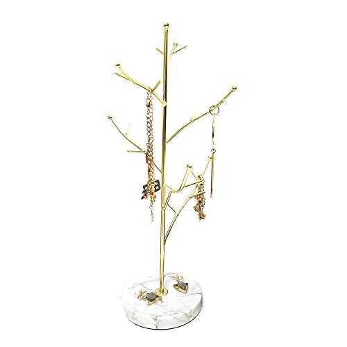 Homeanda Organizador de joyas en forma de árbol con base de mármol, soporte para joyas, pendientes, collares, pulseras, soporte para colgar joyas, organizador para colgar