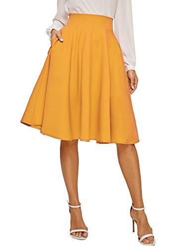 Floerns Women's Flared High Waist Knee Length A Line Midi Skirt A Mustard Pocket XL