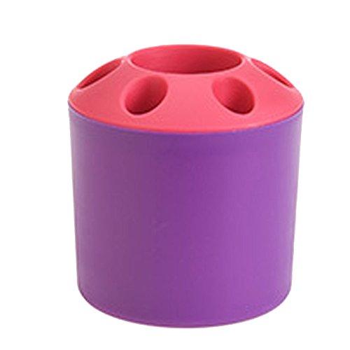 PU Ran Creative Multi Löcher Zahnbürste Halter Aufbewahrung Pen Organizer Badezimmer Home Decor violett