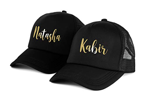 AICA Customised Name Cap for Men, Women and Couples. Print Your Text on The Cap. Gift for Girl boy Husband Wife Boyfriend Girlfriend. Birthday Anniversary Valentines Wedding Diwali Gift