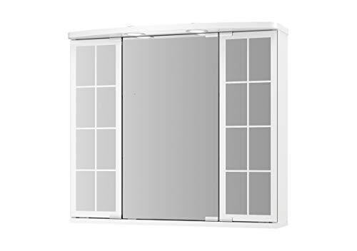Jokey spiegelkast Binz MDF hout in de kleur wit met verlichting landhuisstijl