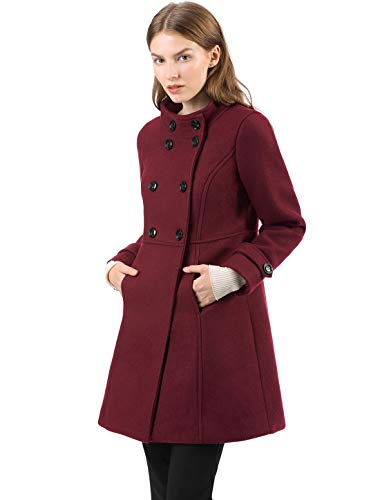 Allegra K Abrigo De Invierno Collar del Soporte De Capa Doble De Pecho para Mujeres - Borgoña/S