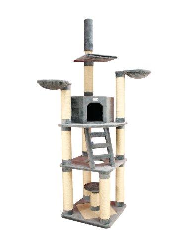 Armarkat Kratzbaum Katzenbaum grau für große und schwere Katze sehr robust deckenhoch (höhenverstellbar von 225-245cm) mit 2 Liegemulden