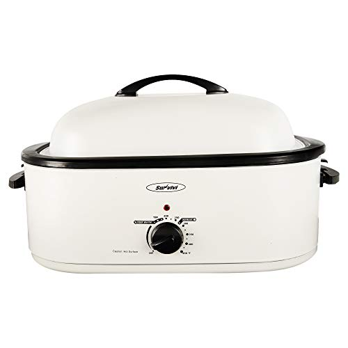 Sunvivi Electric Roaster Oven with Self-Basting Lid, 18-Quart Turkey Roaster Oven with Removable Insert Pot, Full-range Temperature Control and Cool-Touch Handles, White Body and Lid