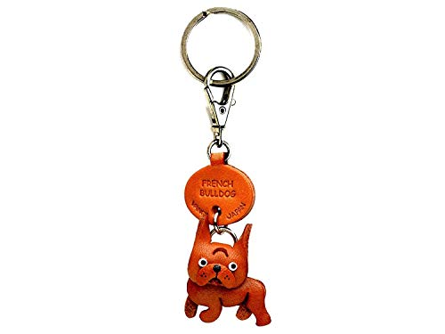 French Bulldog Leather Dog Small Keychain VANCA Craft-Collectible Keyring Charm Pendant Made in Japan