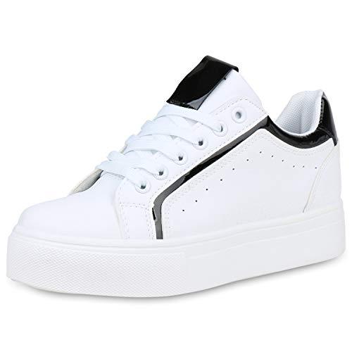 SCARPE VITA Damen Plateau Sneaker Leder-Optik Plateauschuhe Schnürer Metallic Schuhe Lack Freizeit Turnschuhe 191408 Weiss Schwarz Lack 39