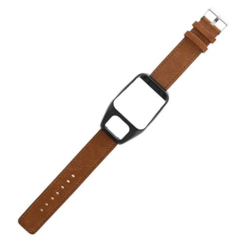 Hemobllo Smartwatch Bands Watch Leather Strap Vintage Replacement Wristband Compatible with Tomtom Runner 3 and Adventurer Brown
