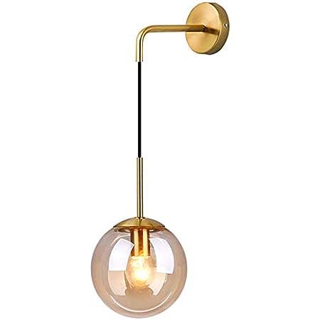 MZStech Industriel Vintage 15 cm Verre Globe Drop Applique Murale Chambre Couloir Applique Lumière Rétro Ambre Verre Sphère Applique Murale (Ambre)