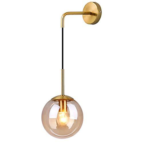 MZStech Lampada da parete industriale vintage 15 cm vetro globo goccia a parete apparecchio camera da letto corridoio lampada da parete retrò sfera di vetro Ambra(Ambra)