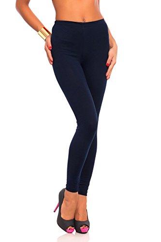 FUTURO FASHION - Damen Leggings aus Baumwolle - knöchellang - weich - Übergrößen - Dunkelblau - 44 Klassische Bundhöhe