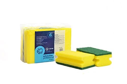CISNE | Confezione da 2 spugne abrasive | spugne in fibra verde | spugne abrasive | spugne abrasive | spugne abrasive da cucina | spugne da bagno | spugne abrasive in vetroceramica |