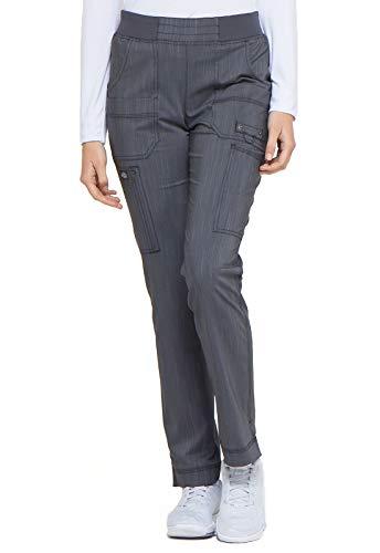 Dickies Mid Rise Tapered Leg Rib Knit Waist Scrub Pant, XS Petite, Pewter Twist