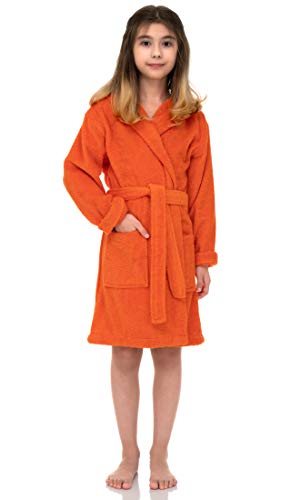 TowelSelections Big Girls' Beach Cover-up, Kids Hooded Cotton Terry Pool Cover-up Size 8 Carrot