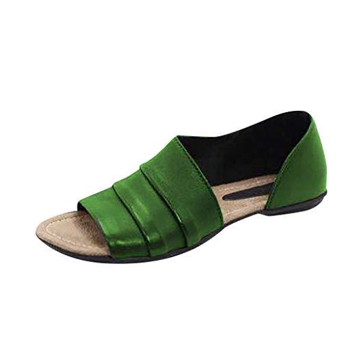 Vectry Zapatos Mujer 2019 Sandalias De Vestir para Mujer Chanclas De Mujer Zapatos Mujer Tacon Fiesta Zapatos Plano Mujer Zapatos De Mujer Verano Zapatos Casual para Mujer Verde