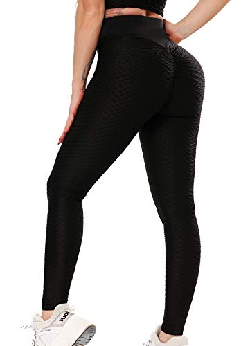 INSTINNCT Damen Slim Fit Hohe Taille Booty Lange Leggings mit Bauchkontrolle Laufhose Fitnesshose Sporthose Tights A-Karo-Schwarz-1 L