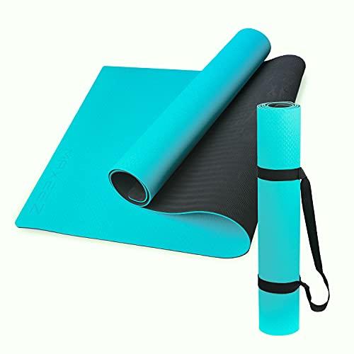 MAXEEZ Esterilla de yoga TPE turquesa, 80 cm, extra ancha para mayor comodidad y seguridad, esterilla de gimnasia totalmente reciclable + biodegradable