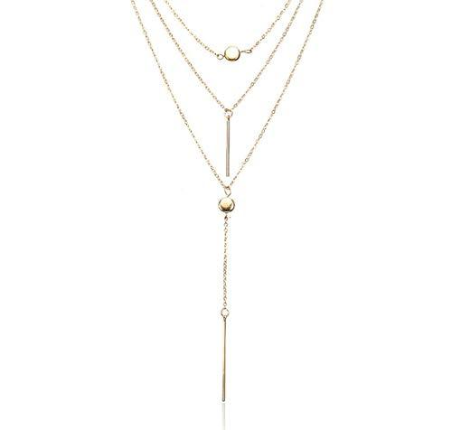 ZOMEBER Collier Fille Femmes Mode Clavicule chaîne Courte Collier Pendentif chaîne Chandail Cristal Dot Collier Multi-Couche (Or) (Couleur : Gold)