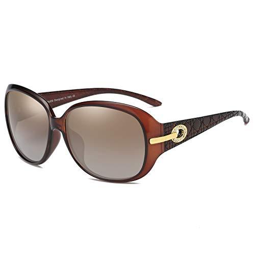 DUCO Klassische Damen Sonnenbrille Polarisiert Modische 100% UV-Schutz 6214 (Braun)