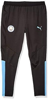 PUMA Men's Standard Manchester City MCFC Training Pants, Black-Team Light Blue, M