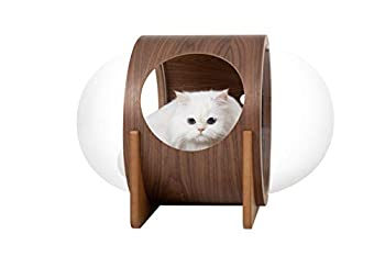 MYZOO Spaceship Alpha, Pet Bed for Cat & Dog, Window Perch, Cat Tree, Made of Wood … (Walnut)
