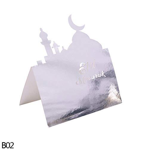 Yener 10 st Goud Zilver Zwart Ansichtkaarten Set Kaarten Wenskaarten Leeg Nieuwjaar Uitnodigingskaart, B02-eid mubarak, 10 stks