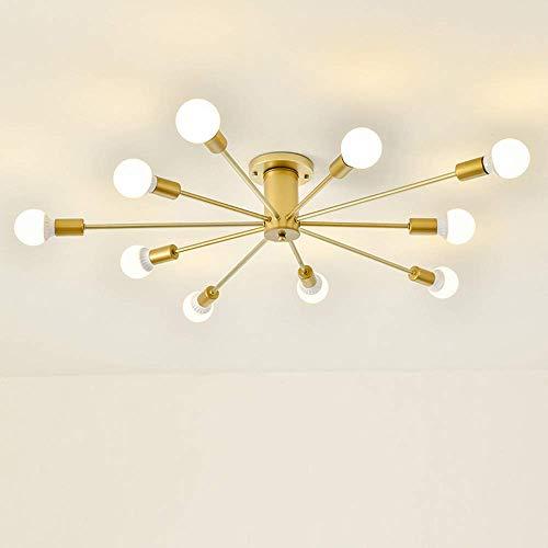 Vintage industriële plafondlamp E27 kroonluchters voor slaapkamer, woonkamer, keuken, eetkamer, werkkamer, loft, gang, balkon, kantoor, ijzer, multi-arm, eenvoudige plafondlamp (zwart, 10 lampen)