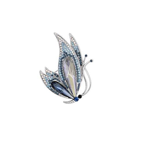 ZWSHOP Broche de mariposa con forma de elemento de cristal, insignia del traje de vestir, bufanda con mantón, for bodas, fiestas, banquetes 5.5x4cm (Color : Blue)