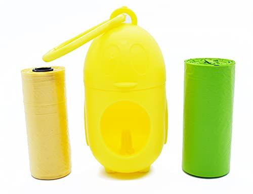 Dispensador de Bolsas de Caca de Perro 'PINGUINO Wow'- Dispensador para Guardar Bolsas de Caca para Perro de tu Color Favorito - Accesorio Porta Bolsas de Caca para Perro Mascota (Amarillo)