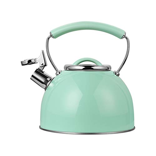 HaneCn Retro Kettle Tetera de té del silbido 2.5L - Hervidor de té para la Estufa Superior de Acero Inoxidable, Mango ergonómico Resistente al Calor/Azul Menta (Color : Mint Blue, Size : 2.5L)