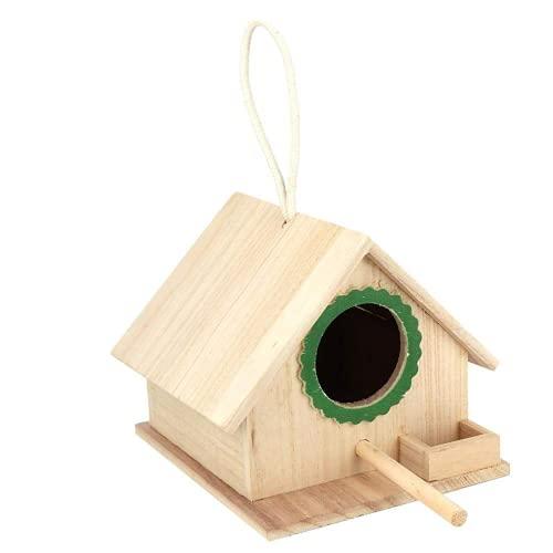 Jeffergarden 7.2 * 6.2 * 5.9 Pulgadas Marrón Interesante Duradero Resistente Al Aire Libre Colgante Casa de Madera Comedero para pájaros Estación de alimentación de Descanso con Ventosa(Verde)