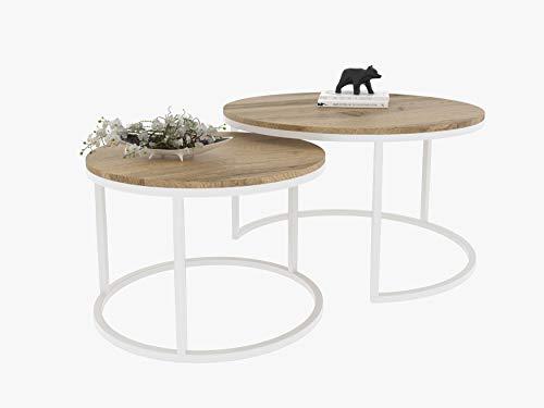 Lukmöbel Couchtisch CIRI 2in1 Modern Loft Beistelltisch Kaffeetisch Sofatisch Weiß/Schwarz Tisch Eiche WOTAN/Sonoma/Artisan/Stirling (Weiß, Wotan Eiche)