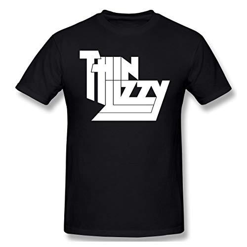 Lifren-Fashion Mens Thin Lizzy Funny T Shirt Black 4XL with Printing Short Sleeve