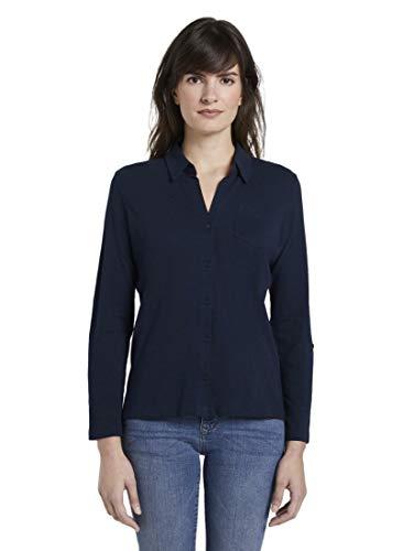 TOM TAILOR Damen Hemd Bluse, 10668-Sky Captain Blue, XL