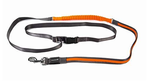 Beleuchtete Joggingleine - USB Anschluss - Hundeleine - Hundesport - grau - 200x25cm