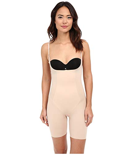 SPANX Thinstincts Open-Bust Mid-Thigh Bodysuit Soft Nude LG