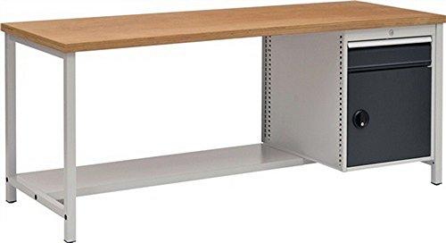 Werkbank B2000xD750xH859 grijs/antraciet, lade 1x150 deur 1x450 40 mm multiplex