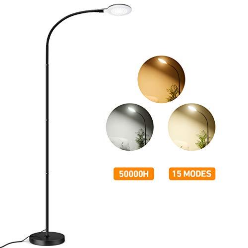 LITOM Lampadaire LED 8W avec 3 Modes de Couleur, 5 Niveaux de Luminosité, Col Flexible, Facile à Monter sans Scintillement Soin des Yeux pour Salon, Bureau, Chambre, Lecture- Noir