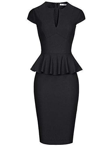 MUXXN Women's Sexy Deep V Neck Stretch Cotton Wear to Work Business Pencil Dress (Black XL)