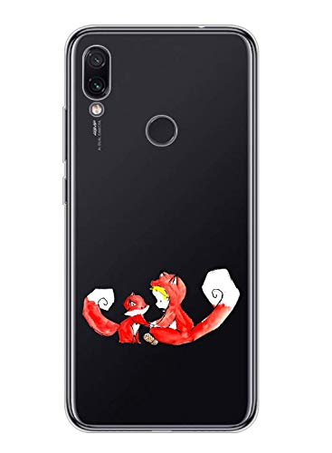 Oihxse Kompatibel mit Motorola Moto Z2 Play Hülle Klar,Transparent TPU Silikon Schutzhülle Crystal Clear Original Durchsichtige Anti-Schock Anti-Scratch Kratzfest Durchsichtige Dünn Cover-Fuchs+Mann